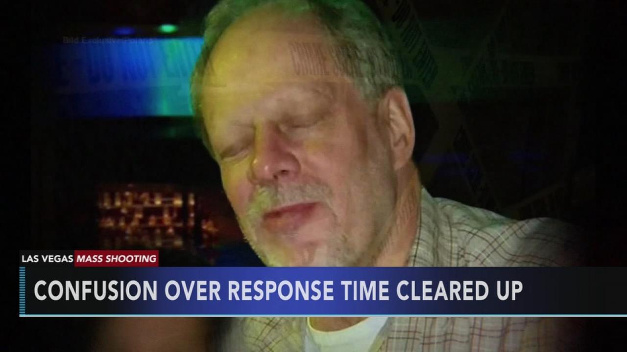 Sheriff again shifts time gunfire started in Vegas massacre