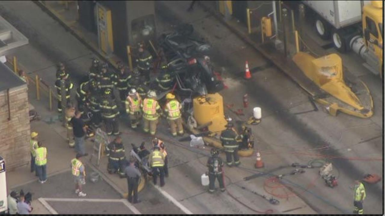 PHOTOS: Vehicle hits tollbooth on Pa. Turnpike