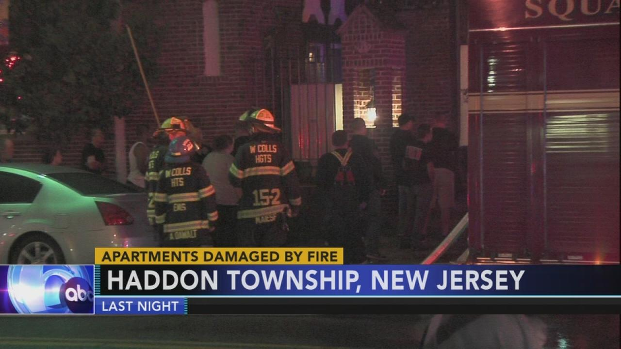 Firefighters battle apartment fire in Haddon Township