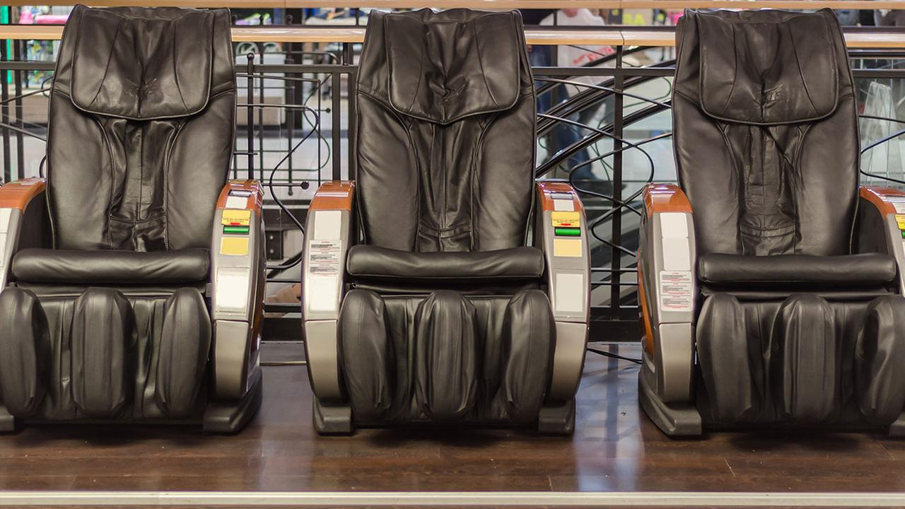 Police say a New Jersey man got a little too comfortable in a massage chair at a mall.
