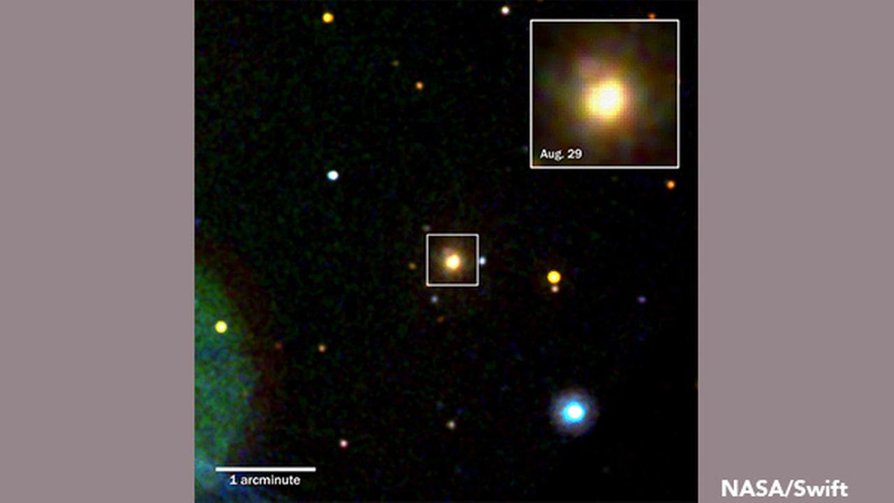 Swifts Ultraviolet/Optical Telescope imaged the kilonova produced by merging neutron stars in the galaxy NGC 4993 (box) on Aug. 18, 2017.