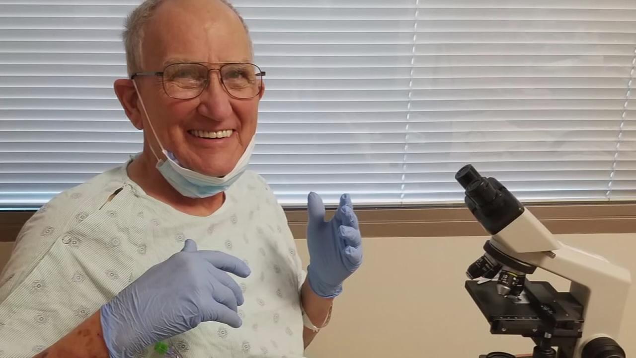 Professor teaches from hospital room