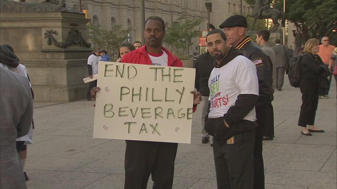 Beverage tax protest outside City Hall