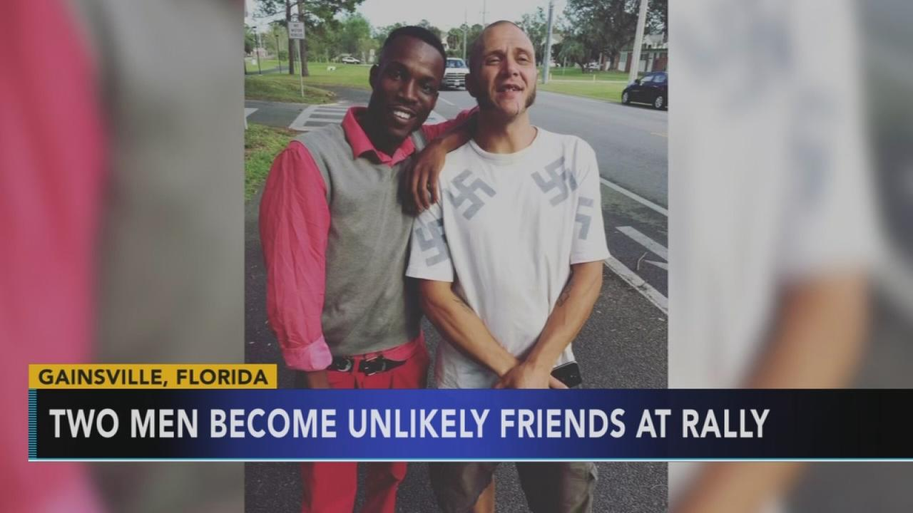 Two men form unlikely friendship during protest