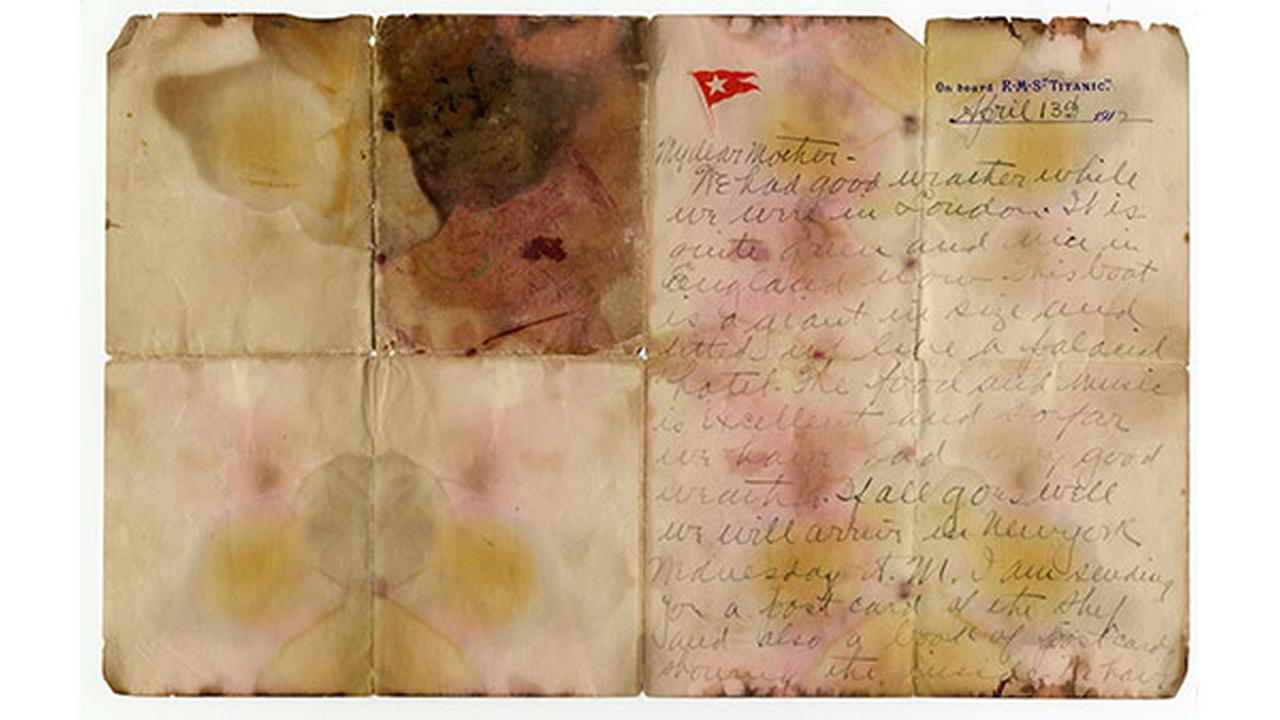 Undated photo issued Sunday oct. 22, 2017, by Henry Aldridge and Son Auctioneers, shows a letter written by first class Titanic passenger Alexander Holversson, before the auction.