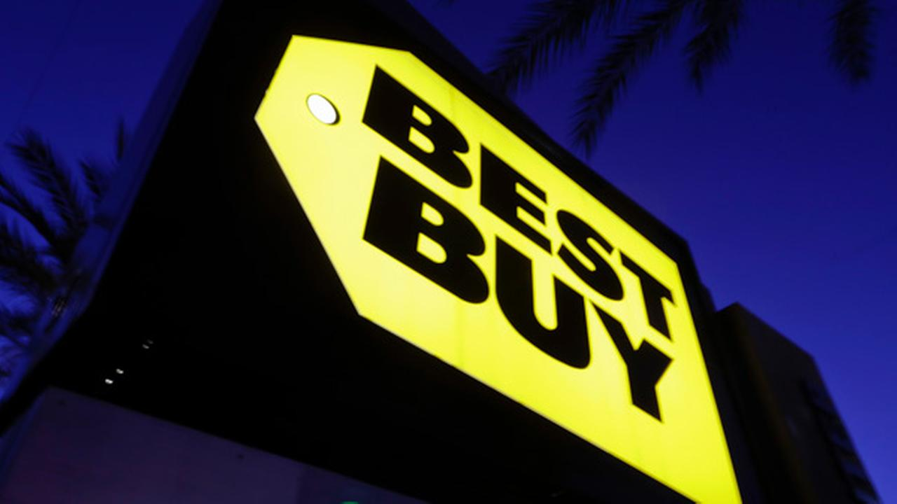 In this Tuesday, May 23, 2017, photo, a Best Buy store sign is illuminated, in Orange, Calif. Best Buy Co. Inc. reports earnings, Thursday, May 25, 2017.
