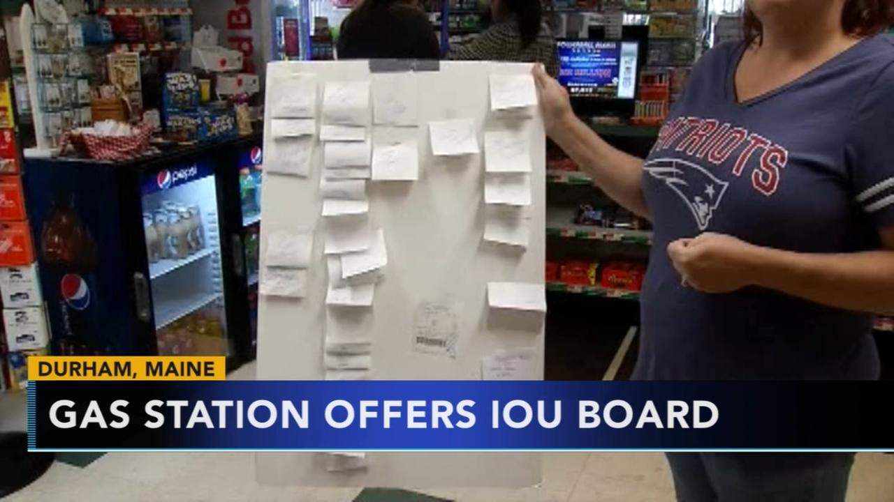 Gas station offers IOU board