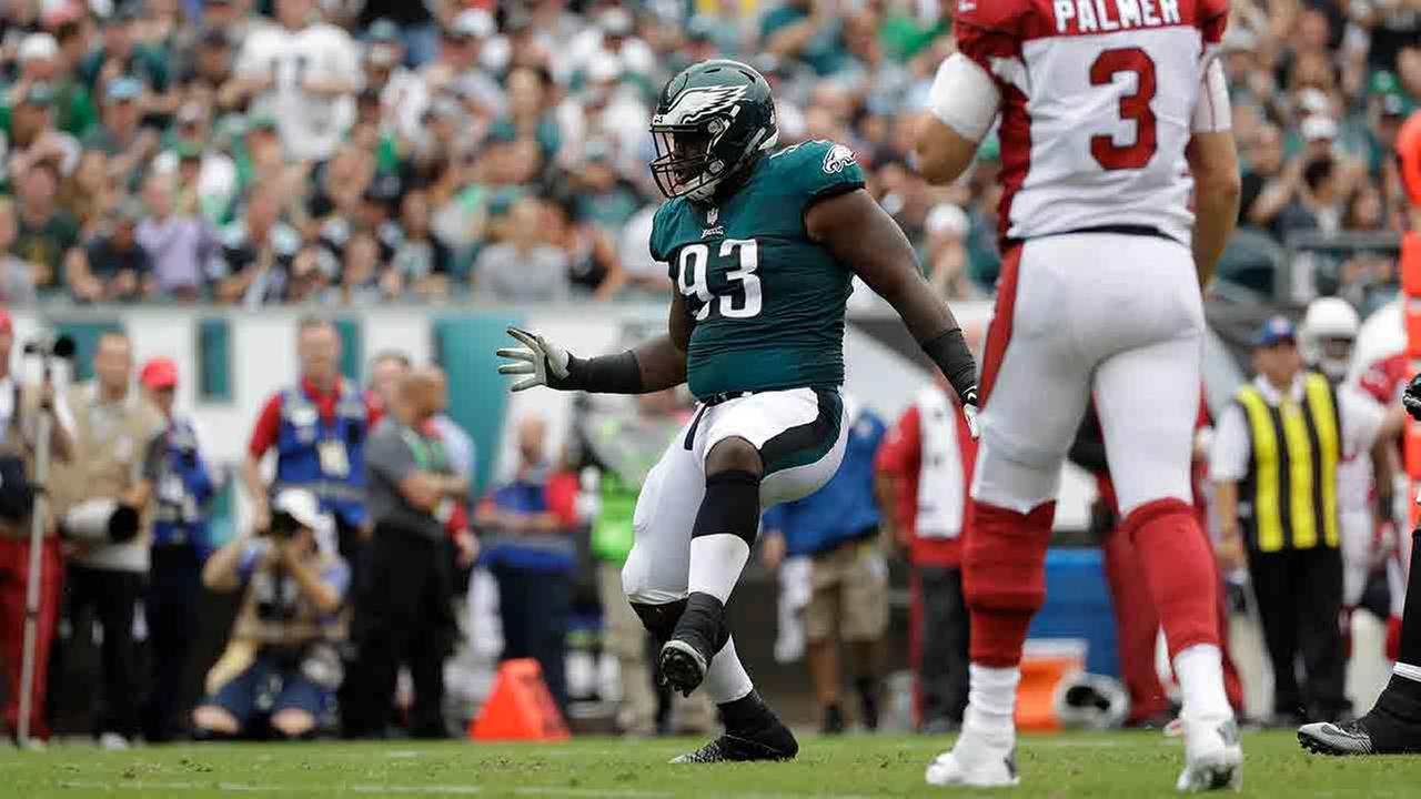 Philadelphia Eagles Timmy Jernigan reacts after a tackle during the first half of an NFL football game against the Arizona Cardinals, Sunday, Oct. 8, 2017, in Philadelphia.