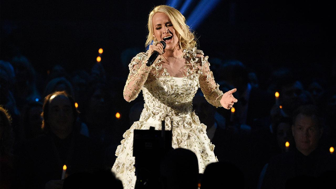 Country music star Carrie Underwood is recuperating from injuries sustained in a fall on steps outside her home.