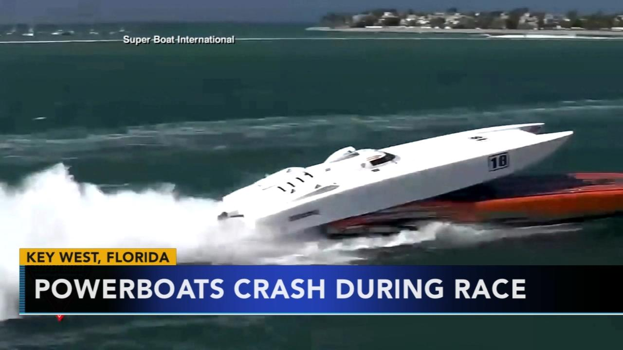 Powerboats crash during race