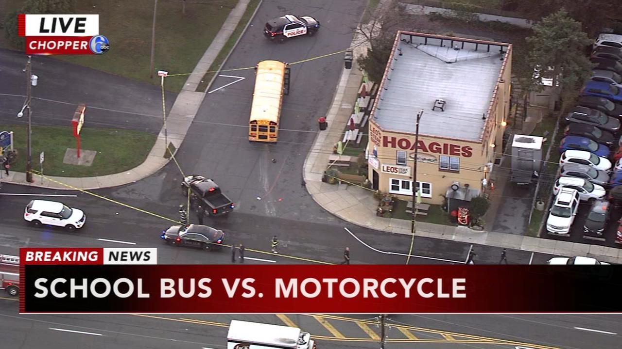 School bus, motorcycle crash in Sharon Hill