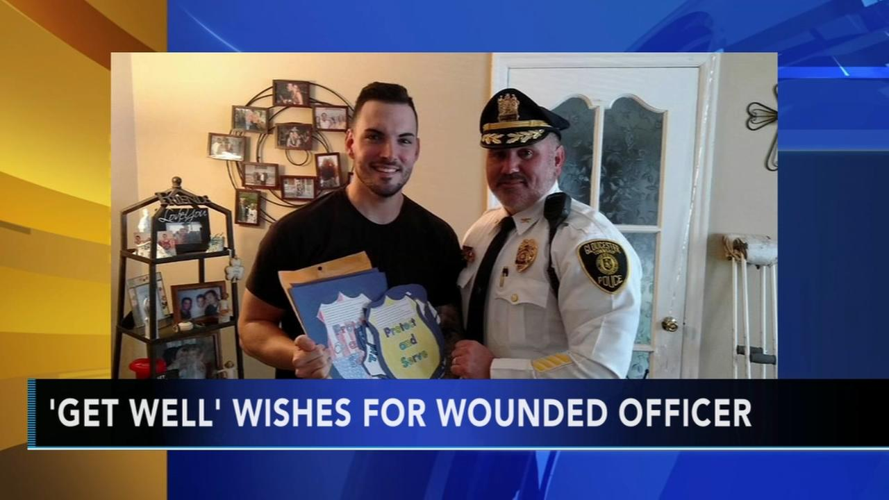 Injured Camden County officer receivs get well wishes