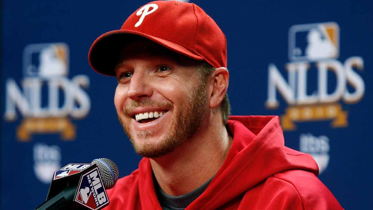 Former Philadelphia Phillies pitcher Roy Halladay smiles at a news conference after throwing a no-hitter to defeat the Cincinnati Reds 4-0 on Wednesday, Oct. 6, 2010.