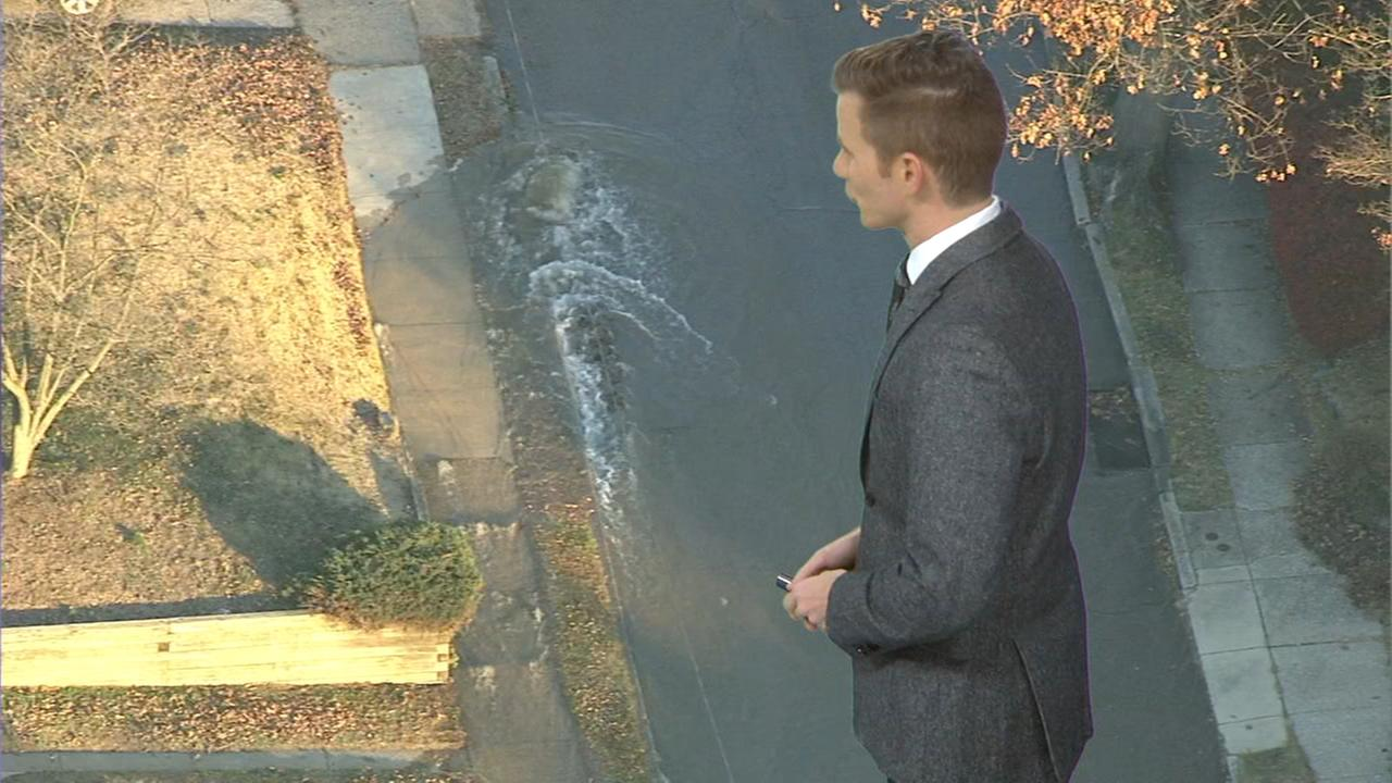 Water main break in Roxborough