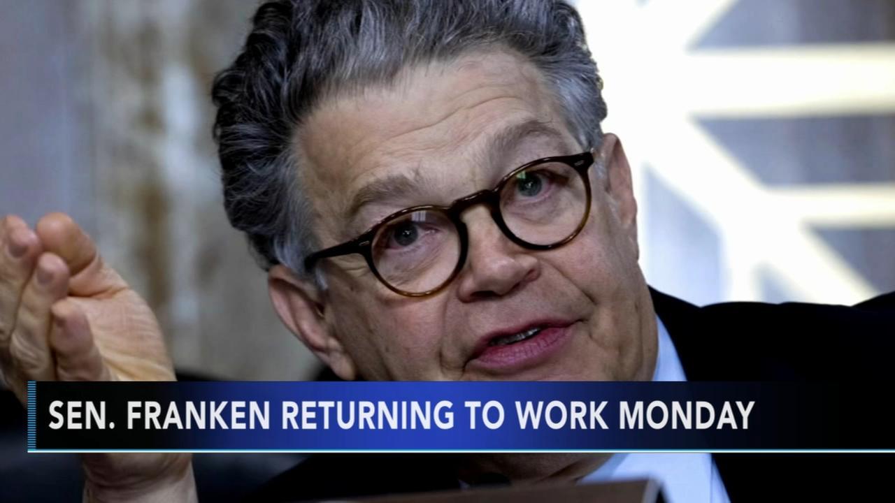 Franken ashamed amid groping claims, will return to work