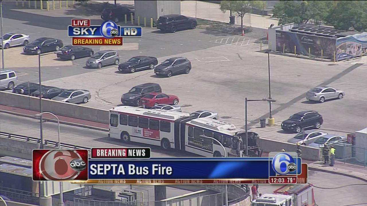 VIDEO: SEPTA bus catches fire at Penns Landing