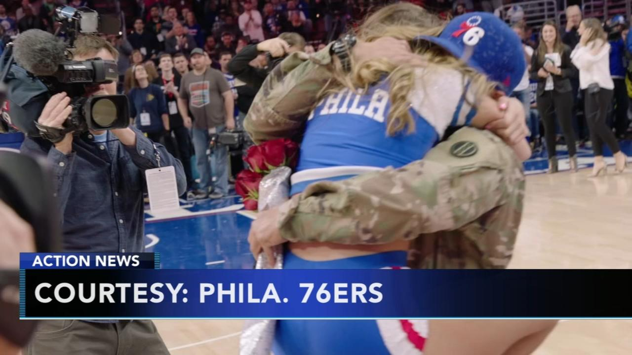 Soldier surprises girlfriend at 76ers game