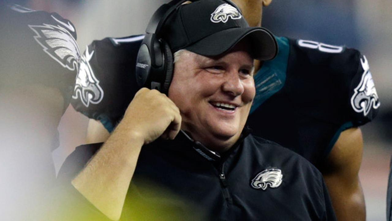 Philadelphia Eagles head coach Chip Kelly smiles on the sideline in the first half of an NFL preseason football game against the New England Patriots Friday, Aug. 15, 2014.