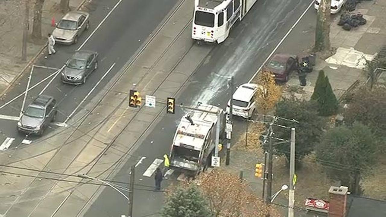 SEPTA trolley and trash truck collide in West Philadelphia