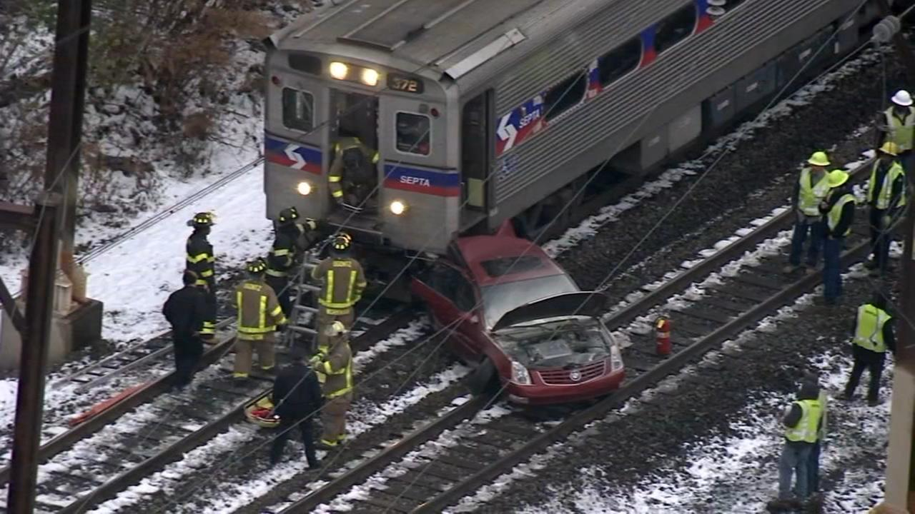 SEPTA train hits unoccupied car on tracks in Montgomery County