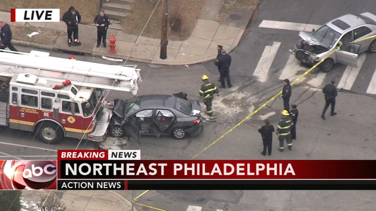 Fire truck, 2 vehicles collide in NE Philadelphia