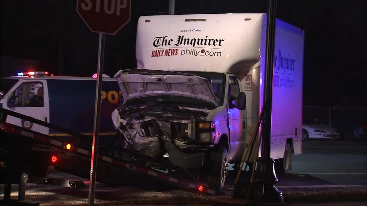 Newspaper delivery truck crashes in Bristol, Pa.