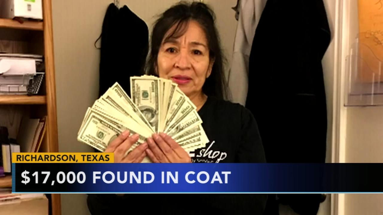 Texas woman finds $17K in donated coat