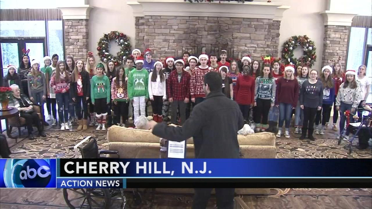Cherry Hill high school students bring holiday cheer to assisted living facility