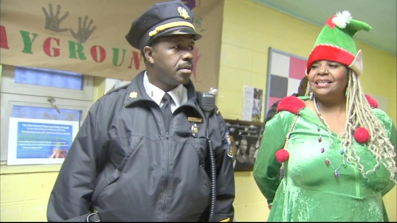 Officers drop off toys to playground Christmas party