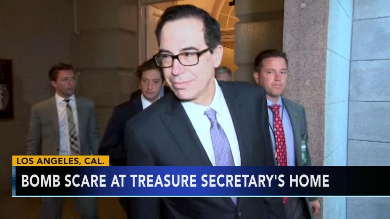 Bomb scare at Treasury secretarys home