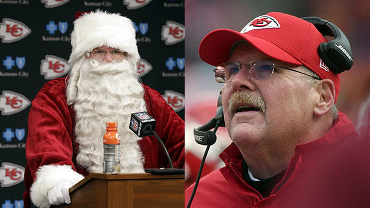 Kansas City Chiefs head coach Andy Reid wears a Santa costume during a news conference following an NFL football game against the Miami Dolphins in Kansas City, Mo.
