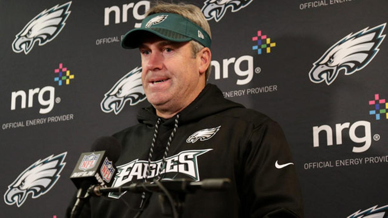 Philadelphia Eagles head coach Doug Pederson talks to reporters after an NFL football game against the New York Giants, Sunday, Dec. 17, 2017, in East Rutherford, N.J.