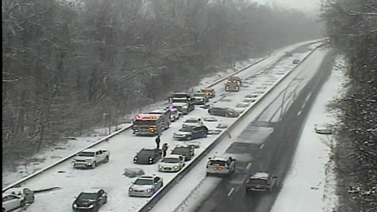 Snow causes slippery roads and accidents