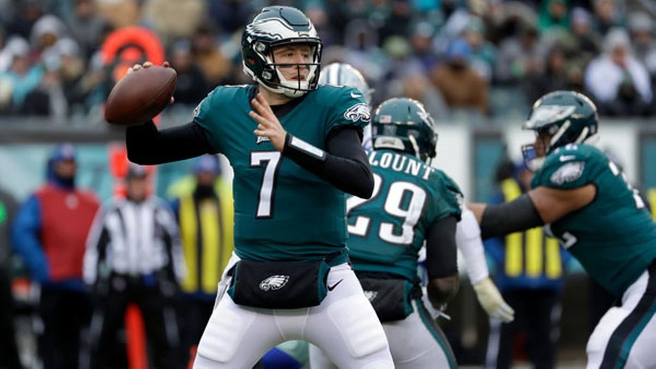 Philadelphia Eagles Nate Sudfeld in action during the first half of an NFL football game against the Dallas Cowboys, Sunday, Dec. 31, 2017, in Philadelphia.