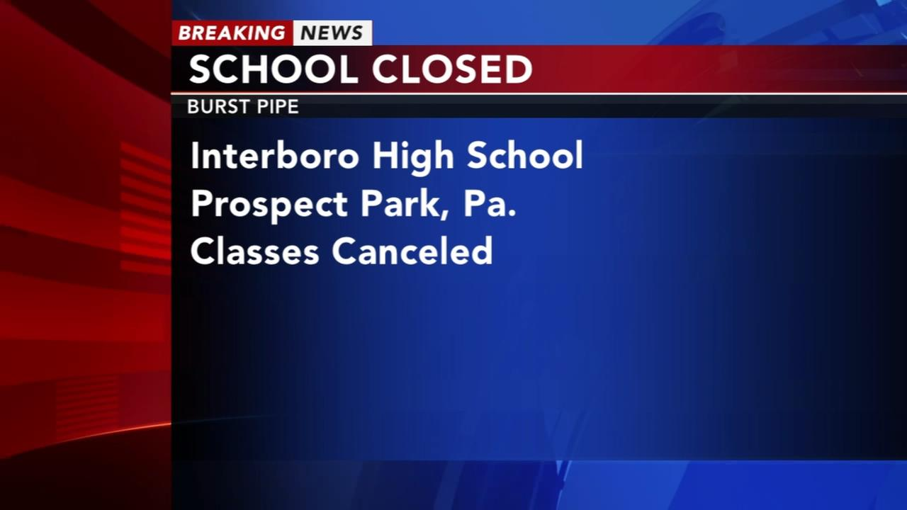 Interboro High School closed due to burst pipe