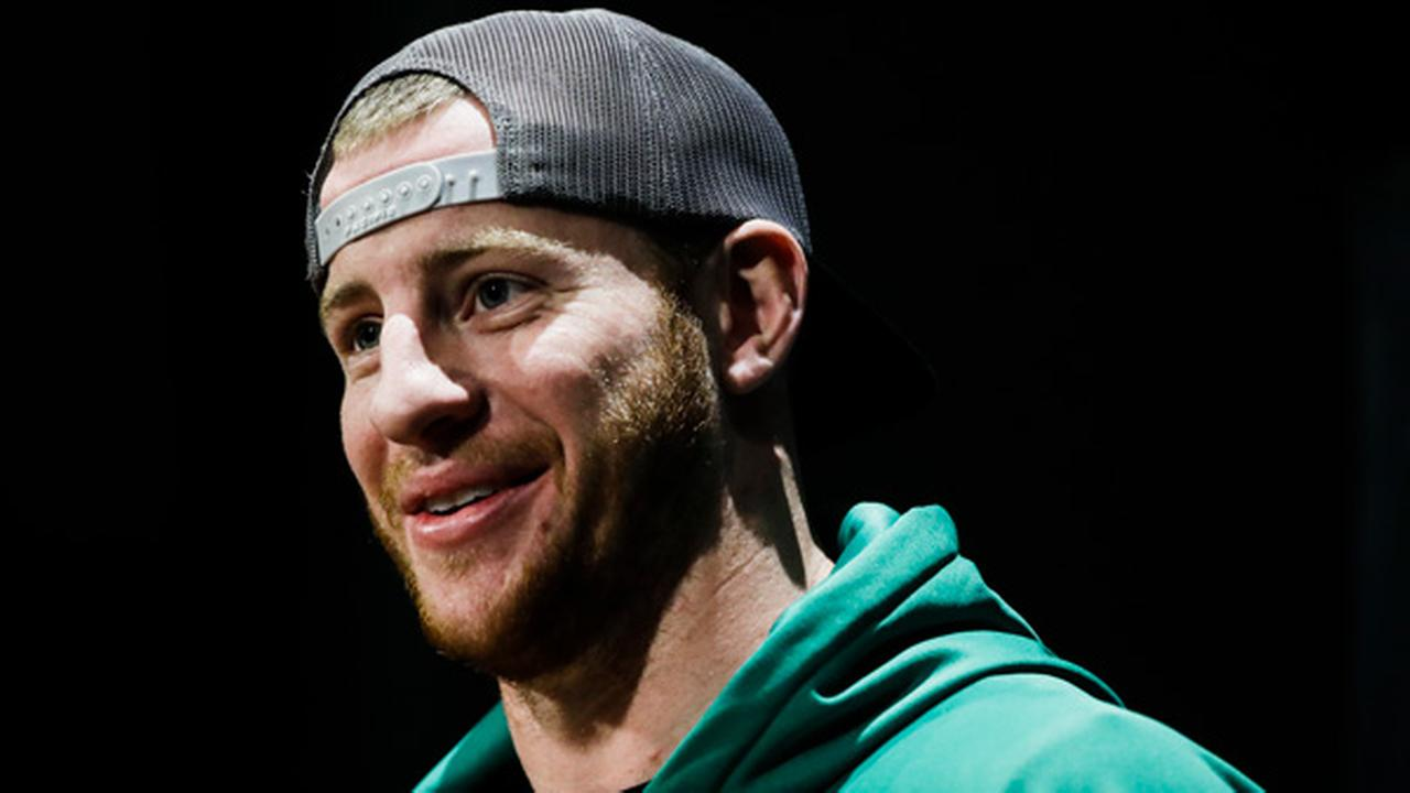 FILE: Philadelphia Eagles quarterback Carson Wentz speaks with members of the media during a news conference at the teams NFL football training facility, Nov. 29, 2017.