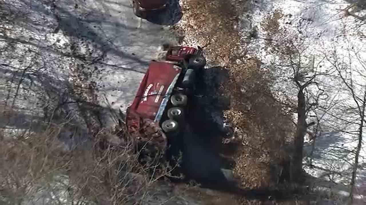 Trash truck overturns in Whitemarsh Township