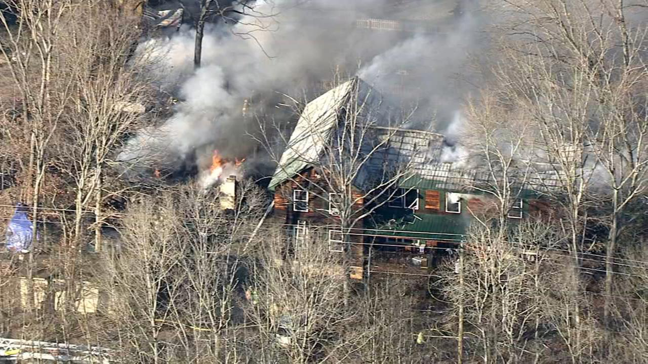 Firefighters battle multi-alarm blaze in Elmer, New Jersey