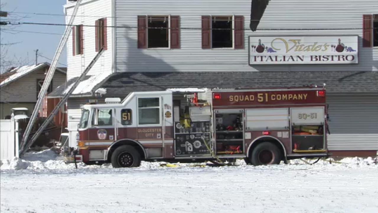 Firefighters battle blaze in Gloucester City, N.J.
