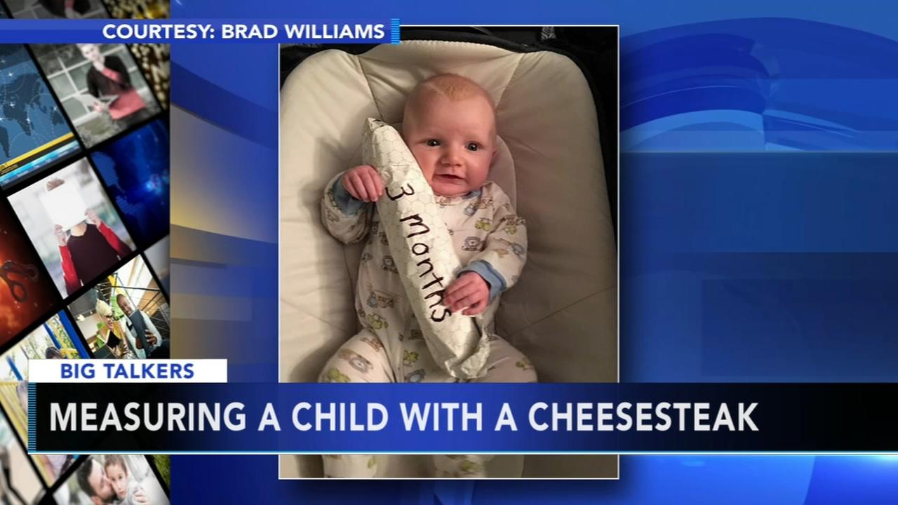 VIDEO: Dad measures baby with a cheesesteak