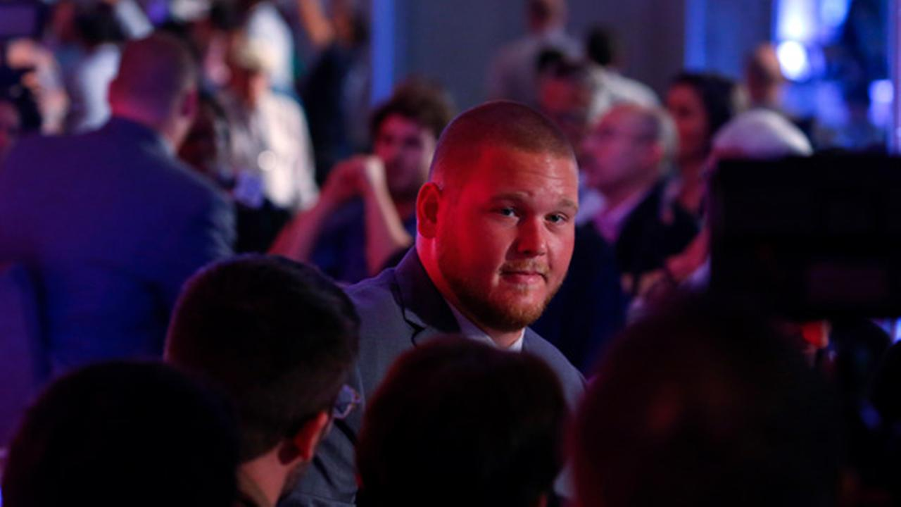 Alabama NCAA college football player Bradley Bozeman speaks during the Southeastern Conferences annual media gathering, Wednesday, July 12, 2017, in Hoover, Ala.