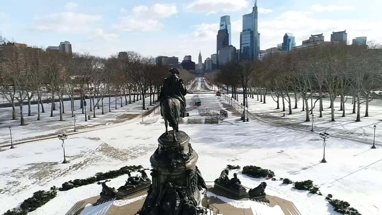 VIDEO: Drone 6 over snowy Ben Franklin Parkway