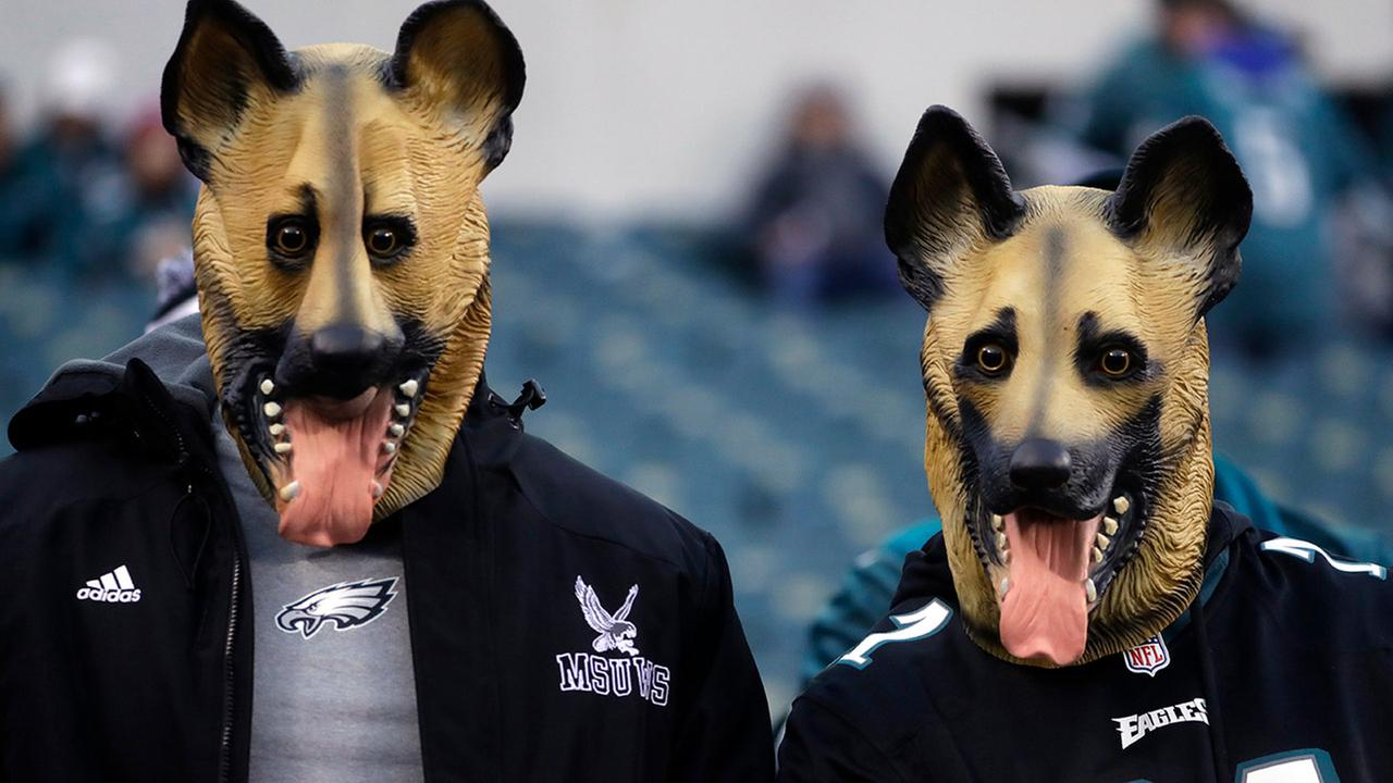 Philadelphia Eagles fans dressed as underdogs watch as players start to warm up before the NFL football NFC championship game against the Minnesota Vikings Sunday, Jan. 21, 2018.