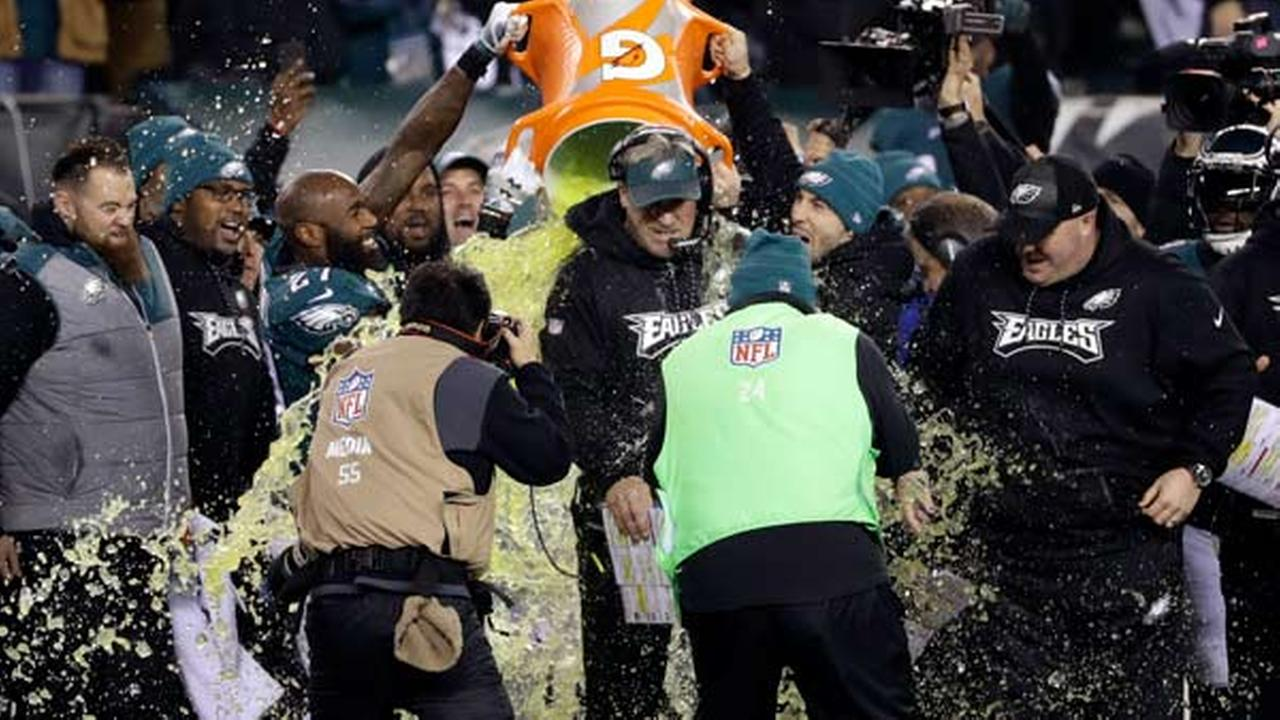 Philadelphia Eagles head coach Doug Pederson is dunked during the second half of the NFL football NFC championship game against the Minnesota Vikings Sunday, Jan. 21, 2018.