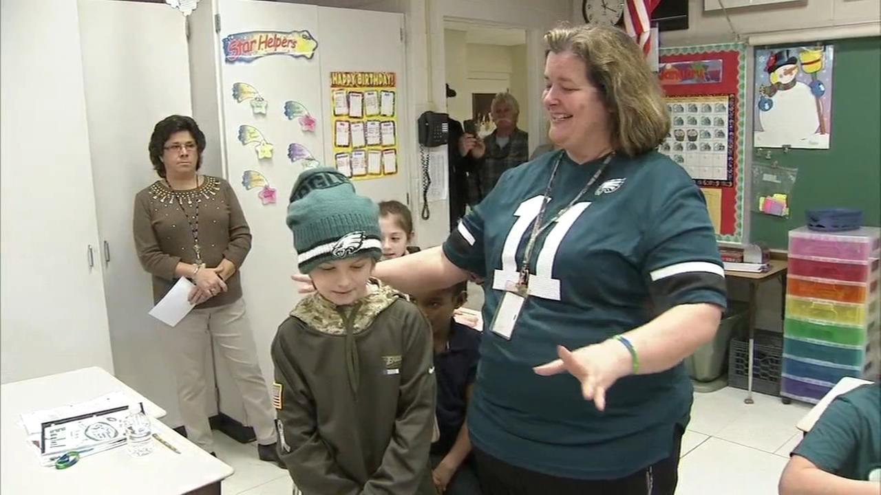 Classmates channel Eagles spirit to cheer on boy battling cancer