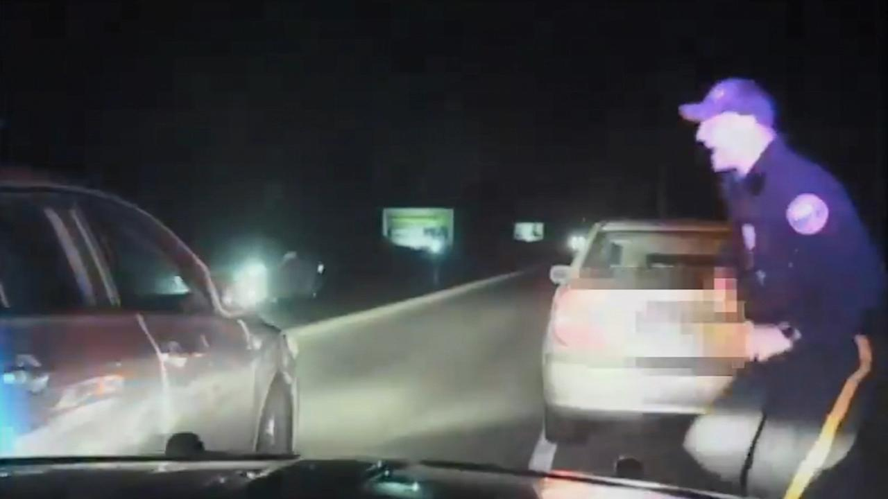 VIDEO: Hamilton Twp., NJ police officer nearly hit by passing car