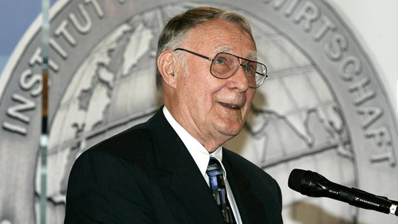 FILE: Swedens IKEA-founder Ingvar Kamprad delivers his speech after he was awarded with the Global Economy Prize 2007 in Kiel on June 17, 2007.