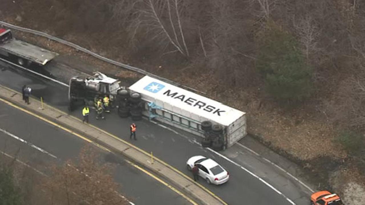 Truck flips on New Jersey Turnpike ramp in Mount Laurel