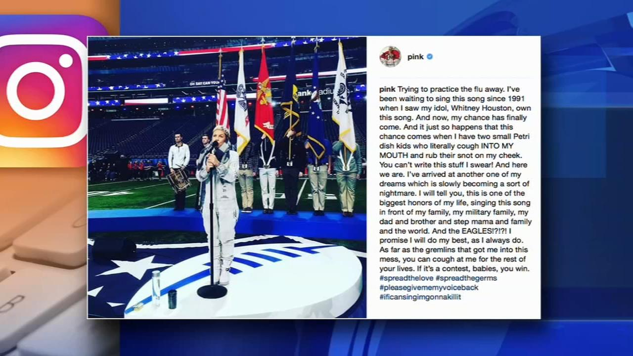 Pink has the flu; still plans to sing National Anthem at Super Bowl 52