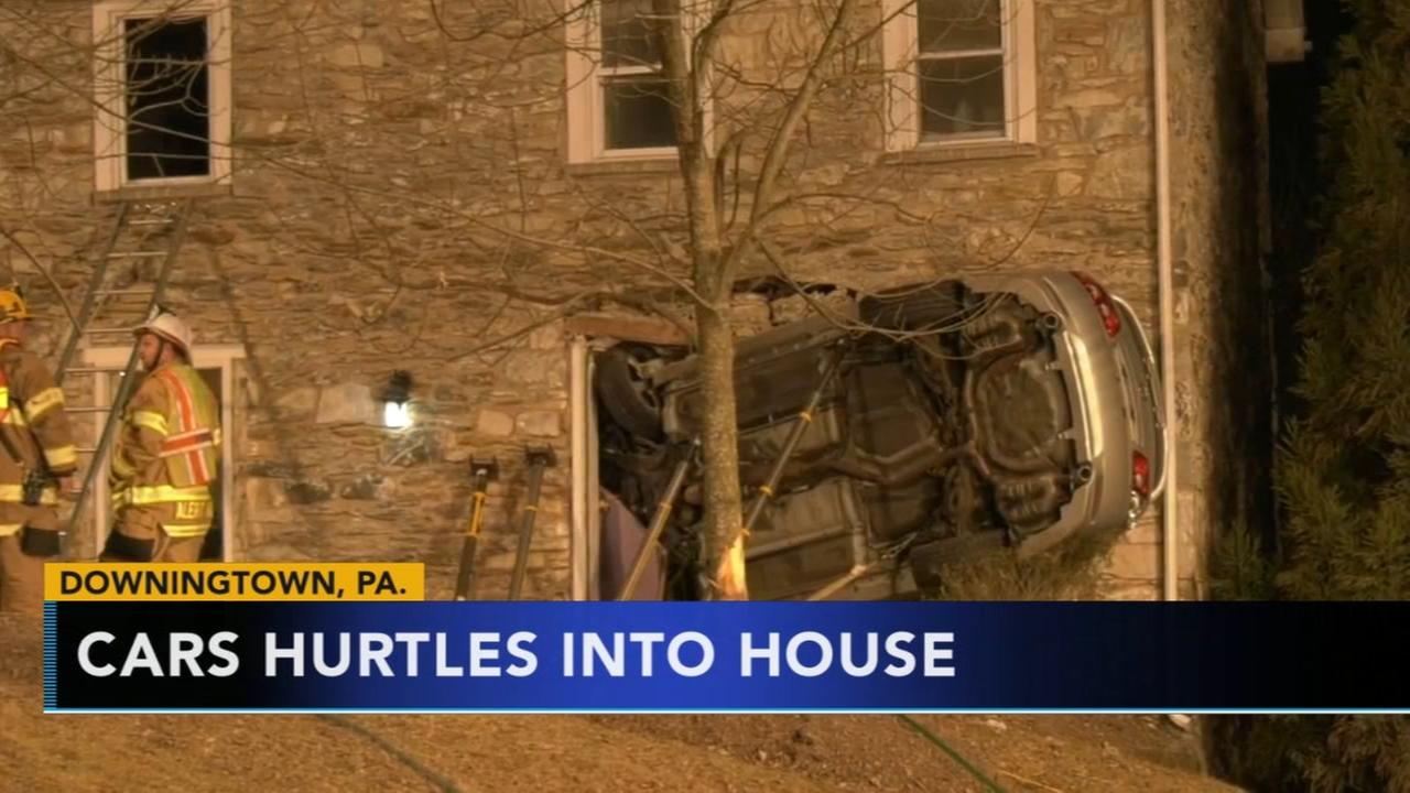 Cars hurtles into Downingtown house